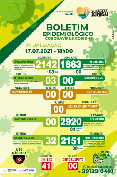 Boletim COVID-19 (17/07/2021) - Prefeitura Municipal de ...